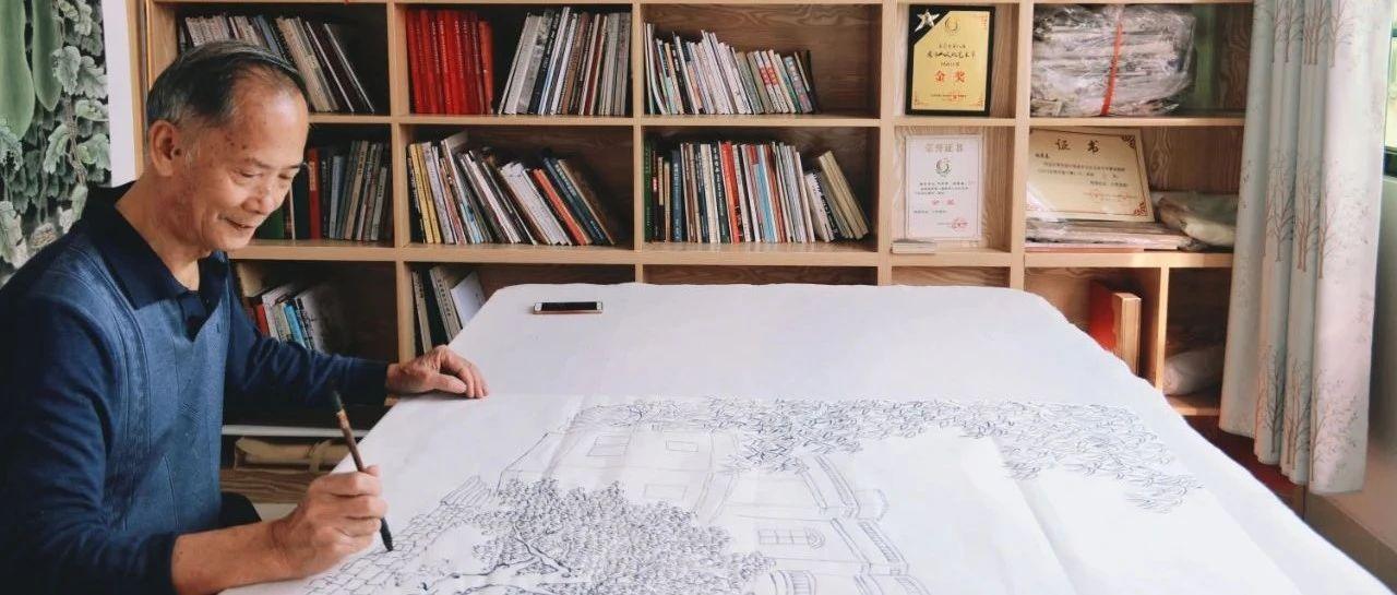 """东莞这个农民伯伯,55岁自学国画,不但画遍了整条村,还办了个""""农具博物馆""""!"""