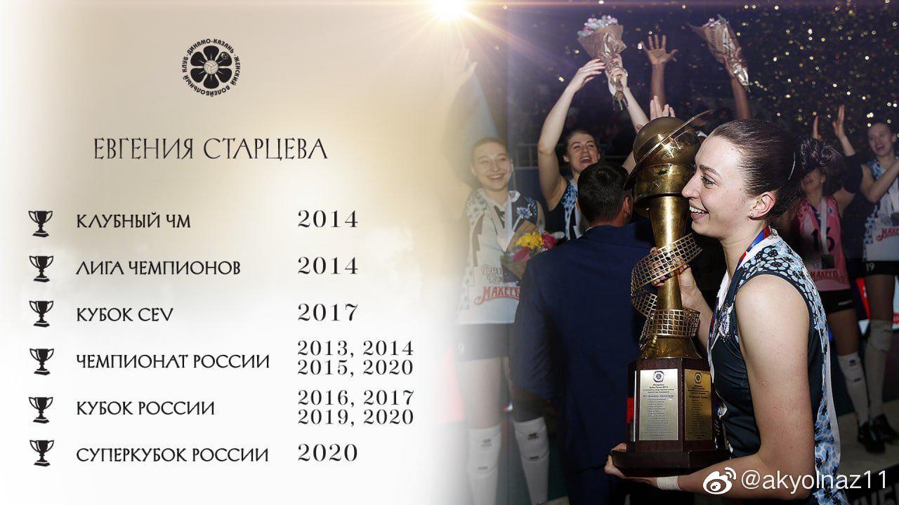 俄罗斯 二传斯塔特塞娃效力于喀山迪纳摩俱乐部9个赛季……