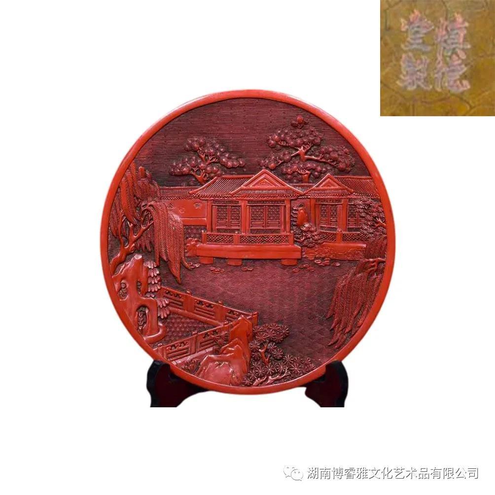 品鉴:剔红漆器楼阁图摆件