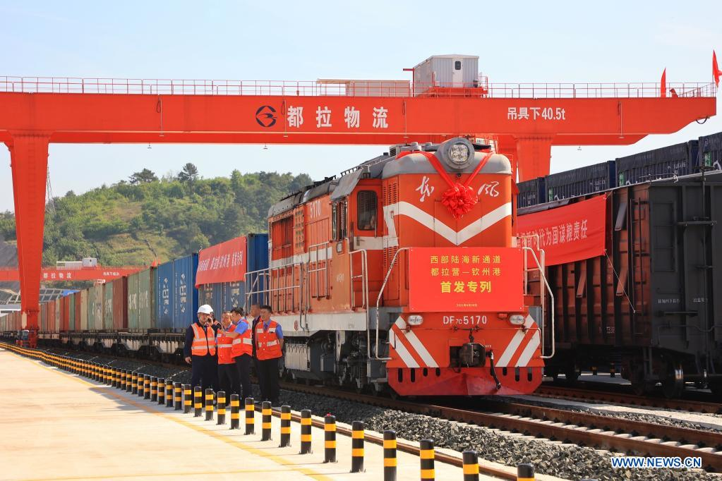 Photo taken on April 30, 2021 shows the first freight train leaving Dulaying international land-sea logistics port in Guiyang City of southwest China's Guizhou Province. Dulaying international land-sea logistics port in Guiyang officially opened on Friday. Its construction was divided into two phases and the first phase project has been accepted in January this year. After completion, the annual cargo transport capacity of the first phase project is expected to reach 5 million tons. (Xinhua/Liu Xu)
