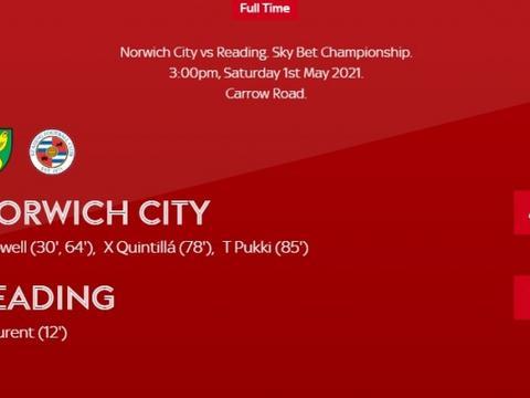 4-1大胜雷丁,诺维奇提前一轮夺得英冠冠军