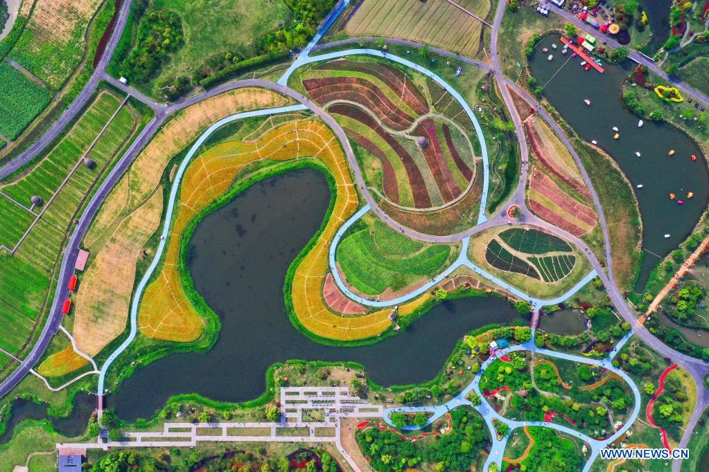Aerial photo taken on May 2, 2021 shows flower fields in Jingshan Township of Yuhang District in Hangzhou, capital of east China's Zhejiang Province. From May 1 to May 5, an animation carnival is held at the flower fields at the Jingshan Town of Yuhang District of Hangzhou. (Xinhua/Xu Yu)