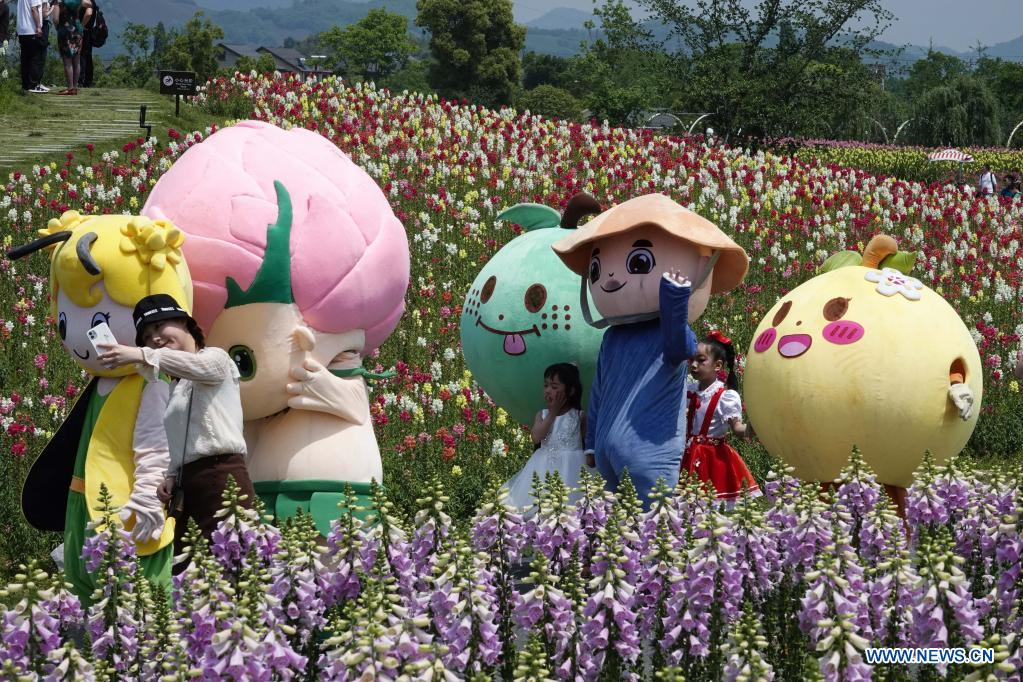 Cartoon characters pose for photos with tourists in the flower fields in Jingshan Township of Yuhang District in Hangzhou, capital of east China's Zhejiang Province, May 2, 2021. From May 1 to May 5, an animation carnival is held at the flower fields at the Jingshan Town of Yuhang District of Hangzhou. (Xinhua/Xu Yu)