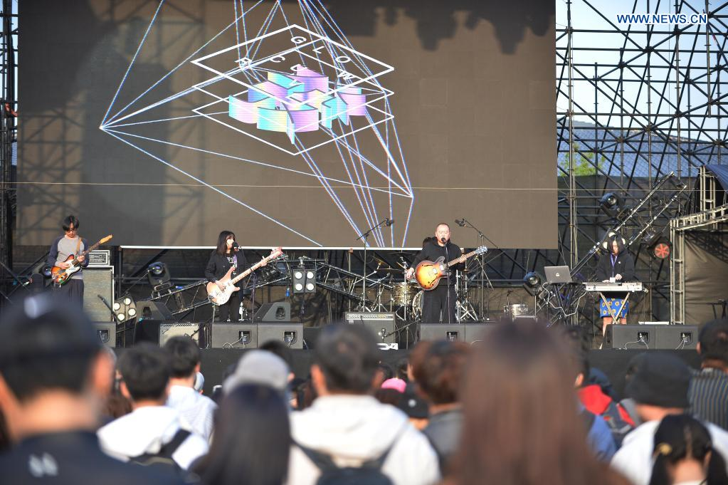 A band performs at the Strawberry Music Festival in Beijing, capital of China, May 2, 2021. The 2021 Strawberry Music Festival is held at Beijing Expo Park from May 2 to May 4. (Xinhua/Xiao Xiao)