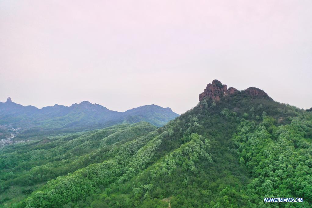 Aerial photo taken on May 2, 2021 shows the view of Guwudang Mountain in Handan, north China's Hebei Province. (Xinhua/Xing Guangli)