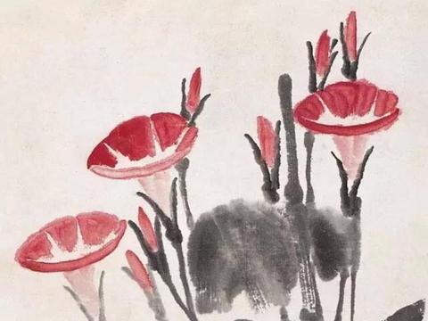 齐白石遇见梅兰芳,开始画牵牛花,少白汤发周说最后成为代表题材