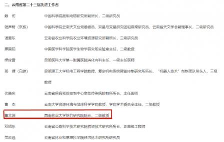 西南林业大学董文渊教授荣获云南省第二十三届先进工作者称号