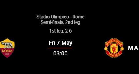 曼联vs罗马首发:B费、博格巴、卡瓦尼先发,哲科、姆希塔良出战