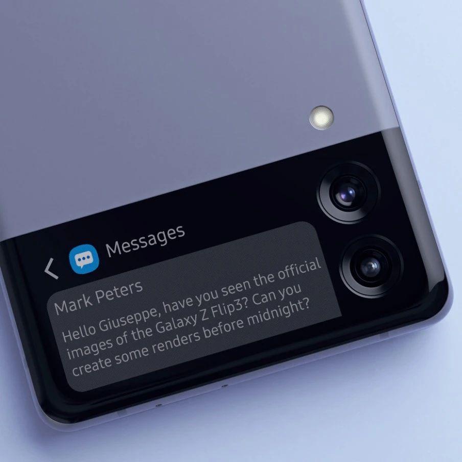 爆料   三星Galaxy Z Flip 3渲染图再曝,或支持15W快充