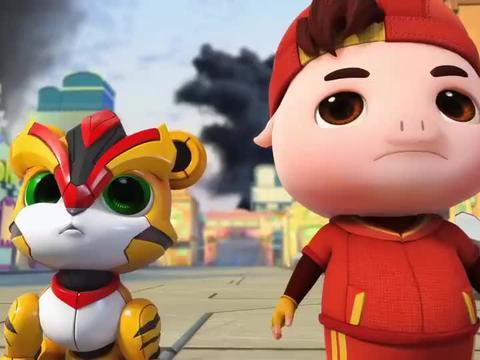 猪猪侠:猪猪侠夺回超星锁,当然毫不犹豫,立马变身成为铁拳虎!