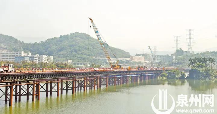 福建省重点项目武荣大桥钢栈桥全线贯通