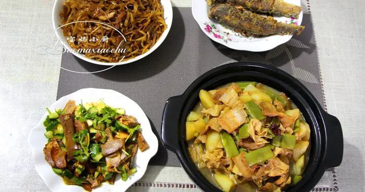 一家四口晚餐,有鱼有肉营养味美,吃着舒服还实惠,全家喜爱