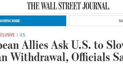 《华尔街日报》:美国的欧洲盟国呼吁美军延期撤离阿富汗