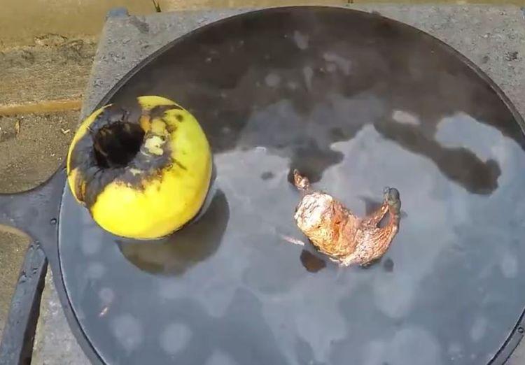 男子把1000度铜水倒进了苹果中,结局却出人意料!