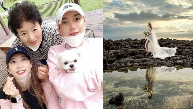 韩流天团Super Junior利特姐姐晒婚纱照 尽显好身材
