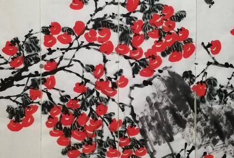 花鸟画家李立新2021年作品,四尺对开通景屏国画柿子《事事如意》