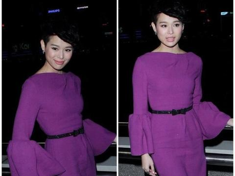 没胡杏儿的肤色别轻易尝试艳紫色,既显俗又显老,好在她气质到位