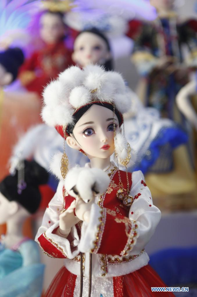 Photo taken on May 9, 2021 shows a toy from northwest China's Xinjiang Uygur Autonomous Region displayed at the first China International Consumer Products Expo in Haikou, capital of south China's Hainan Province. Domestic exhibits with Chinese characteristics are quite a sight at the Expo, not only meeting the needs of consumers, but also reflecting the unique charm of Chinese culture. (Xinhua/Ding Hongfa)