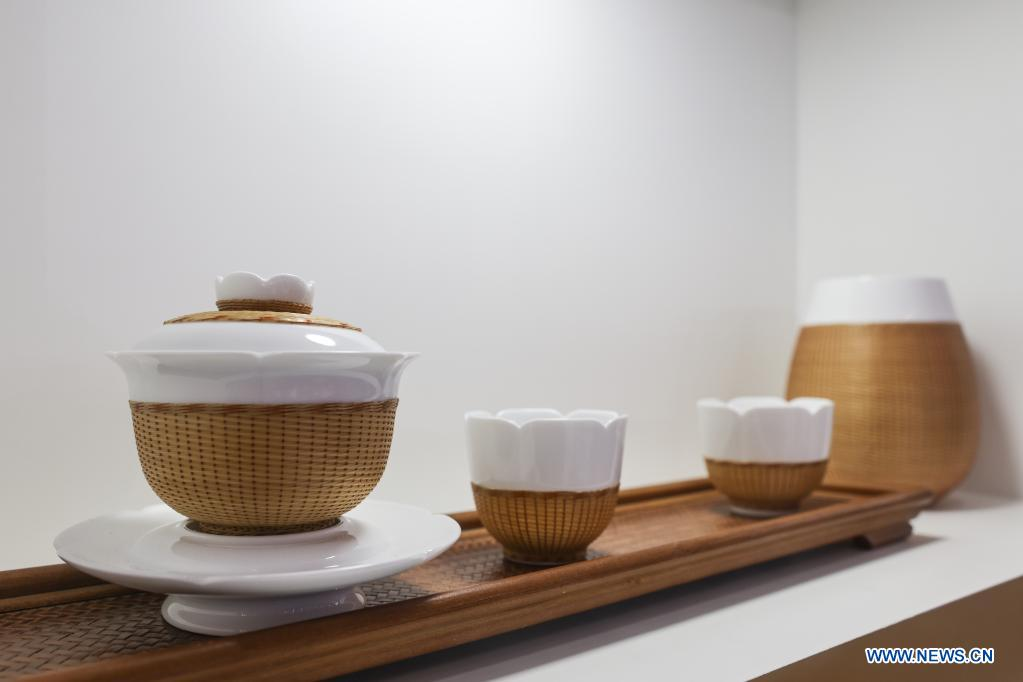 Photo taken on May 10, 2021 shows potteries on display during the first China International Consumer Products Expo in Haikou, capital of south China's Hainan Province. Domestic exhibits with Chinese characteristics are quite a sight at the Expo, not only meeting the needs of consumers, but also reflecting the unique charm of Chinese culture. (Xinhua/Zhang Liyun)