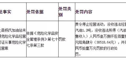 颍上县一加油站未取得许可证被罚11万元