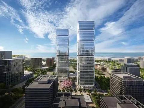 崂山第一高「双子塔」建设快马加鞭,2022 年 10 月底竣工交付!