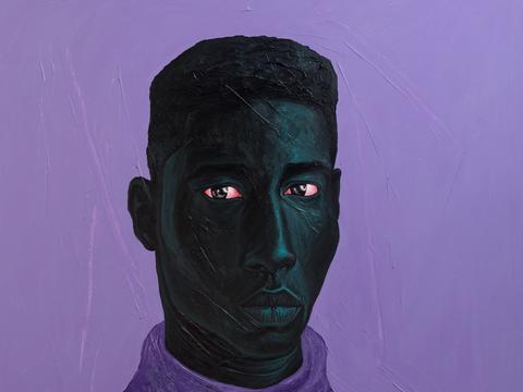红眼睛的人像直视观者,艺术家创作出充满激情的肖像