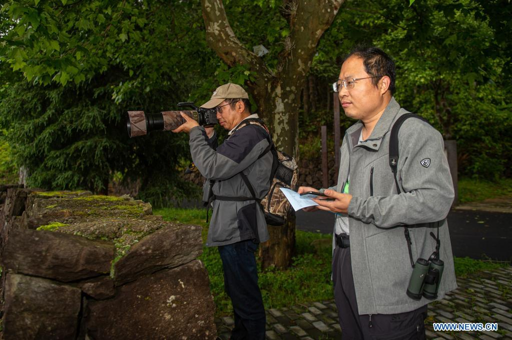 Experts Cui Peng (R) and Cheng Guolong from Nanjing Institute of Environmental Sciences conduct a survey on birds in Longquan City of east China's Zhejiang Province, May 12, 2021. Located in the mountainous area in southwestern Zhejiang Province, Longquan City enjoys a favorable ecological environment and is known for its abundant biodiversity resources in east China. At present, the Nanjing Institute of Environmental Sciences under the Ministry of Ecology and Environment is organizing experts to continuously investigate the biodiversity in Longquan City. It will set up an electronic catalogue of specimens and a database for the species here, so as to lay a foundation for comprehensively improving biodiversity protection. (Xinhua/Jiang Han)