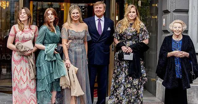 荷兰王后庆50岁生日,仨少女公主更耀眼,比同龄西班牙公主成熟多