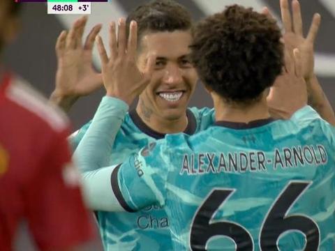 菲尔米诺双响萨拉赫破荒 利物浦4:2逆转曼联 再次夺连胜