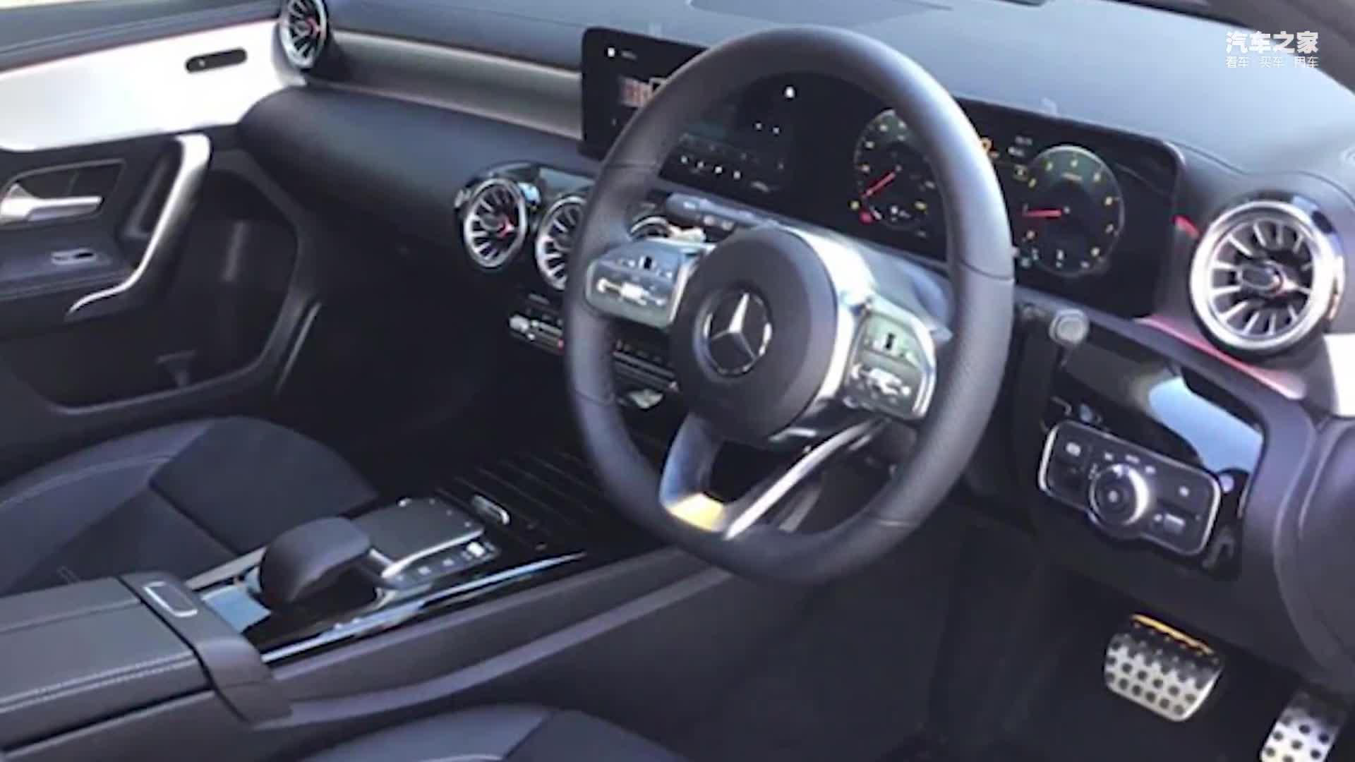视频:奔驰A级实拍曝光!搭1.3T引擎配大尺寸双联屏