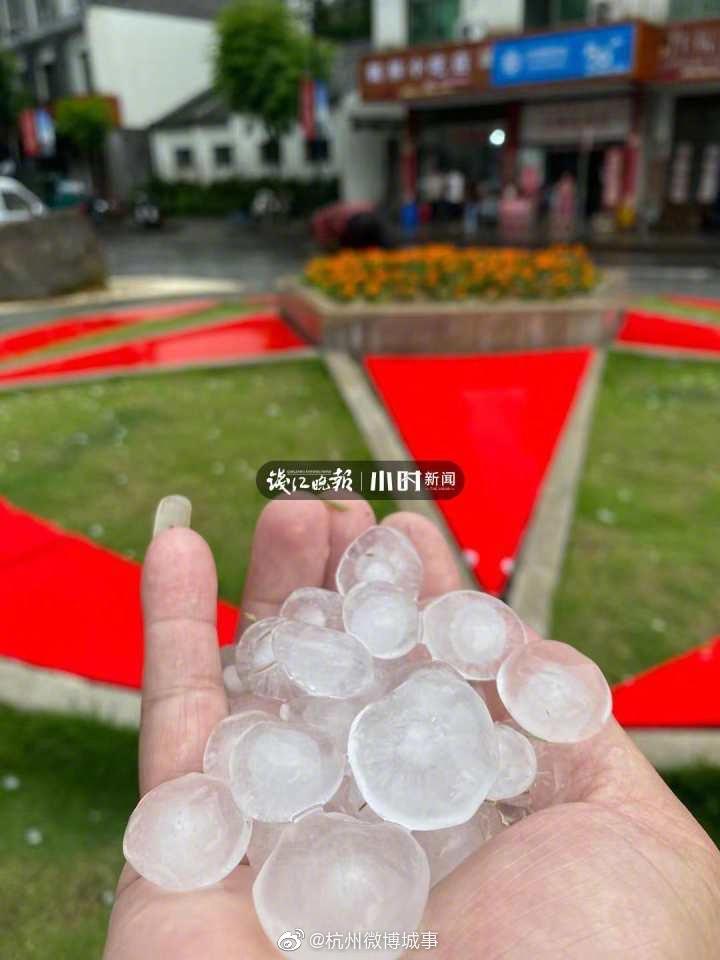 淳安枫树岭下鹌鹑蛋大的冰雹 附近居民:砸到肩膀上很疼很疼的