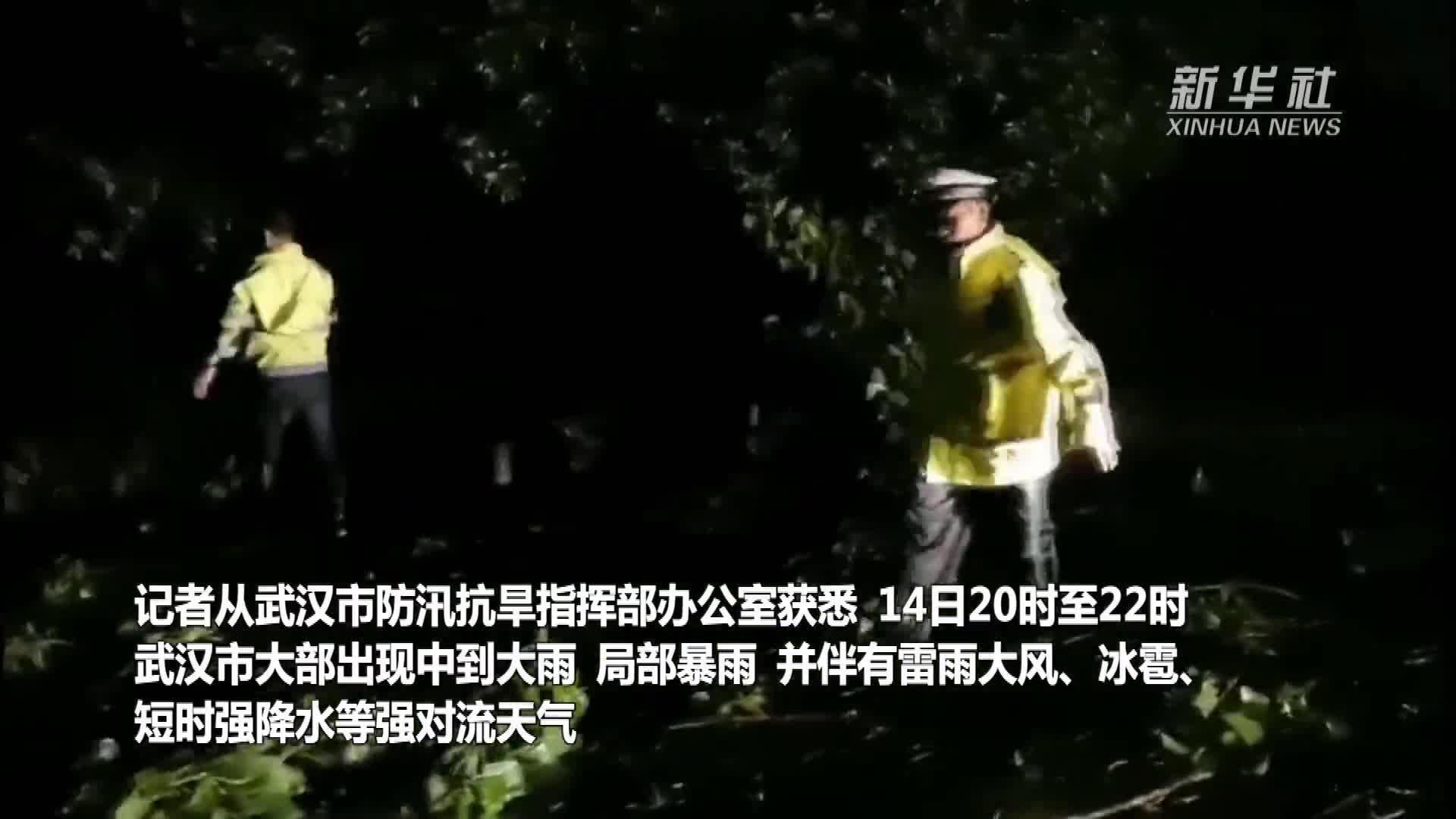武汉出现强对流天气  行车受阻多人受伤