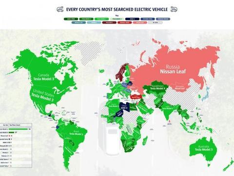 全球电动车热搜排行榜:特斯拉Model 3称霸94国、Model X排第二