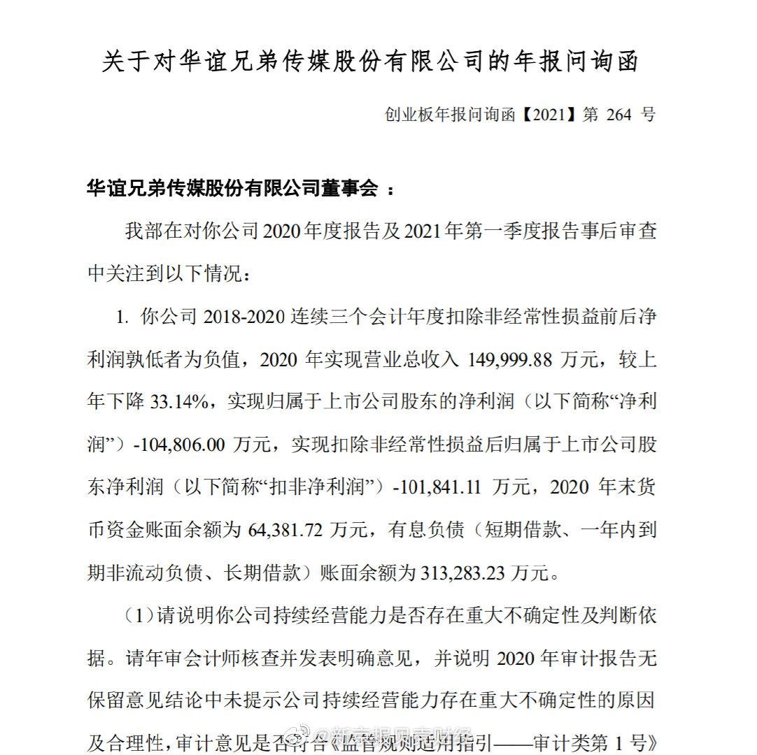 华谊兄弟收深交所问询函:要求公司说明冯小刚等业绩承诺方应向公司补偿的具体金额等