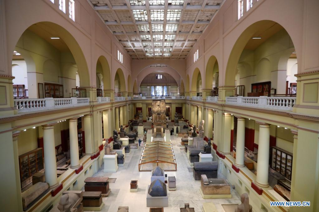 People visit the Egyptian Museum in Cairo, Egypt, May 18, 2021. May 18 marks the International Museum Day. (Xinhua/Sui Xiankai)