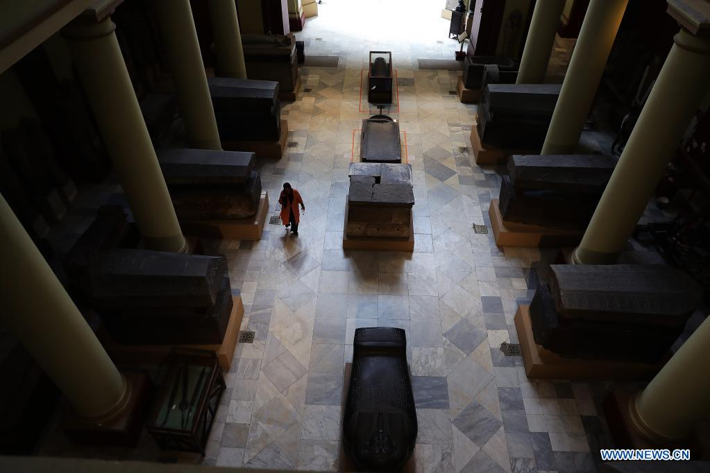 People visit the Egyptian Museum in Cairo, Egypt, May 18, 2021. May 18 marks the International Museum Day. (Xinhua/Wang Dongzhen)