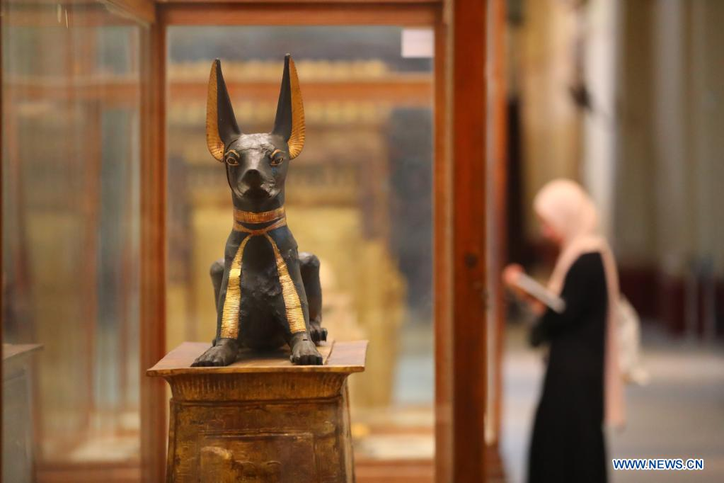 A woman visits the Egyptian Museum in Cairo, Egypt, May 18, 2021. May 18 marks the International Museum Day. (Xinhua/Sui Xiankai)