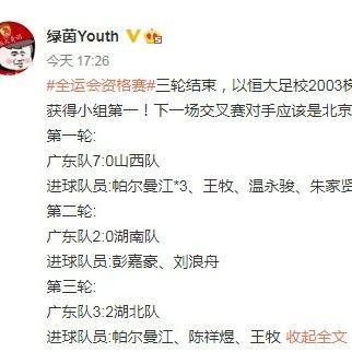 全運會U18預賽:廣東3連勝打進12球 奪小組第一