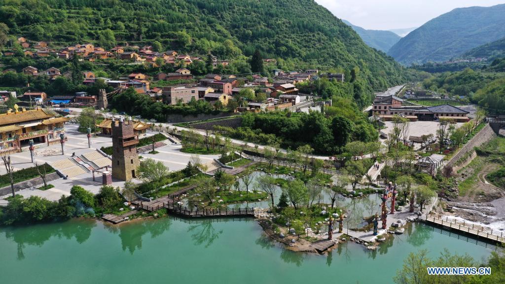 Aerial photo taken on May 18, 2021 shows a view of Egou Scenic Area in Dangchang County, Longnan City, northwest China's Gansu Province. (Xinhua/Chen Bin)