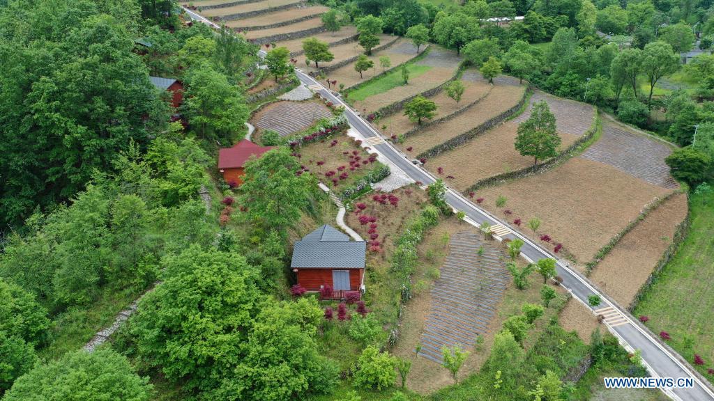 Aerial photo taken on May 21, 2021 shows cabins in Hejiazhuang Village of Kangxian County, Longnan City, northwest China's Gansu Province. (Xinhua/Lang Bingbing)