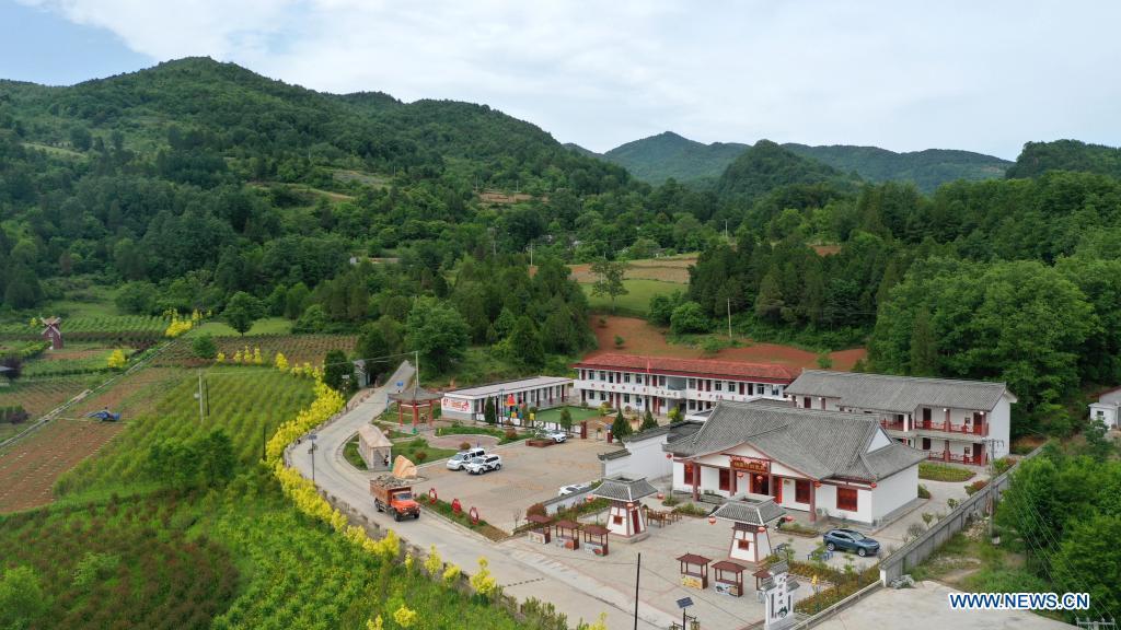 Aerial photo taken on May 19, 2021 shows a view of Sanquan Village of Huixian County, Longnan City, northwest China's Gansu Province. (Xinhua/Lang Bingbing)
