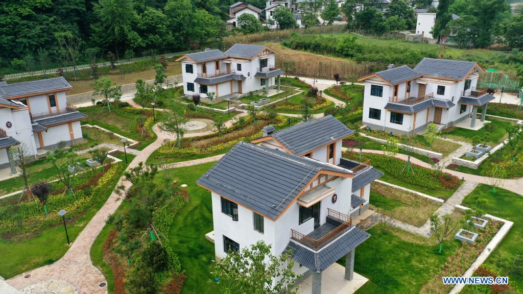 Aerial photo taken on May 21, 2021 shows a cluster of homestays in Zhujiagou Village of Kangxian County, Longnan City, northwest China's Gansu Province. (Xinhua/Lang Bingbing)
