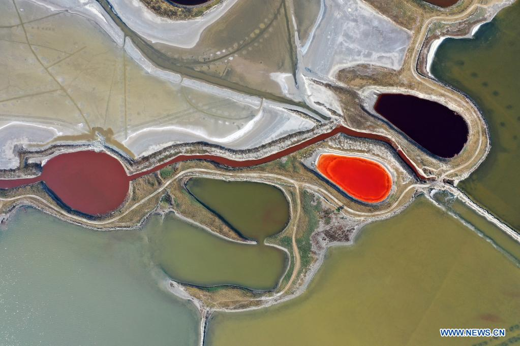 Aerial photo taken on June 1, 2021 shows a view of the salt lake in Yuncheng City, north China's Shanxi Province. Yuncheng Salt Lake, known as the