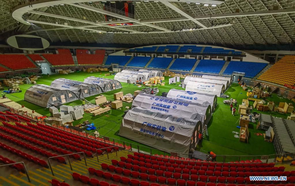 Temporary laboratories for nucleic acid testing are seen in a stadium in Guangzhou, capital of south China's Guangdong Province, June 1, 2021. Four nucleic acid testing laboratories, with each unit covering an area of 210 square meters, were erected in early morning on June 2, and are about to put into use on June 3. The laboratories are able to test over 120,000 samples a day, which will significantly improve the city's testing capability. (Xinhua/Liu Dawei)