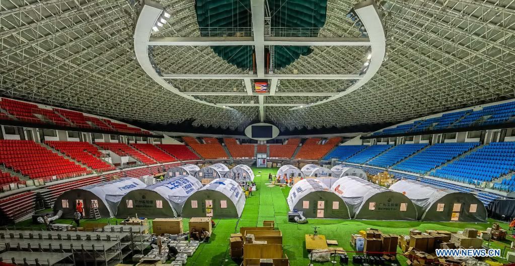 Temporary laboratories for nucleic acid testing are seen in a stadium in Guangzhou, capital of south China's Guangdong Province, June 1, 2021. Four nucleic acid testing laboratories, with each unit covering an area of 210 square meters, were erected in early morning on June 2, andare about to put into use on June 3. The laboratories are able to test over 120,000 samples a day, which will significantly improve the city's testing capability. (Xinhua/Liu Dawei)