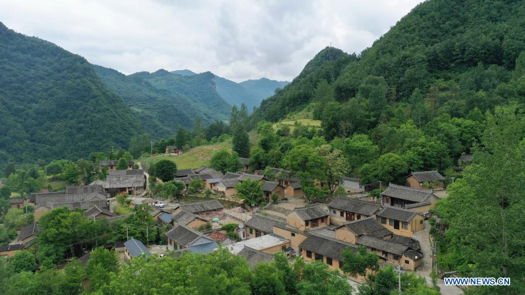 Aerial photo taken on May 19, 2021 shows a view of the ancient Daoping Village of Huixian County, Longnan City, northwest China's Gansu Province. (Xinhua/Lang Bingbing)