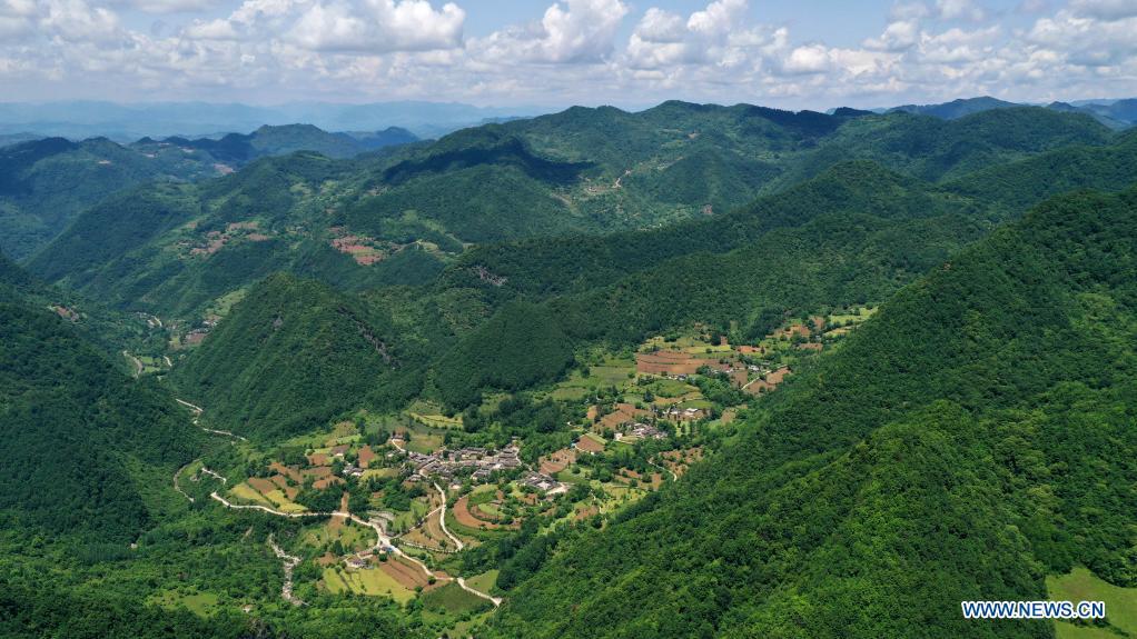 Aerial photo taken on May 19, 2021 shows the view of Daoping Village of Huixian County, Longnan City, northwest China's Gansu Province. (Xinhua/Chen Bin)