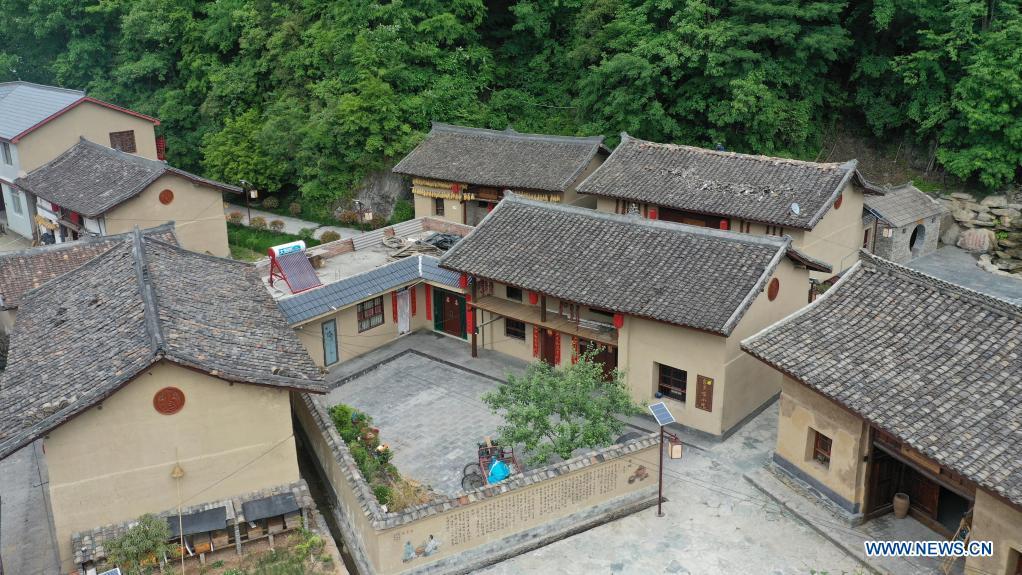 Aerial photo taken on May 20, 2021 shows a view of Fuba Village of Kangxian County, Longnan City, northwest China's Gansu Province. (Xinhua/Chen Bin)