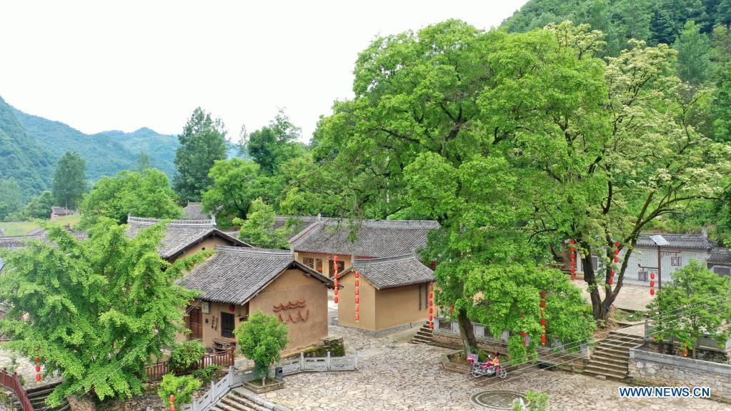 Aerial photo taken on May 19, 2021 shows a view of Daoping Village of Huixian County, Longnan City, northwest China's Gansu Province. (Xinhua/Lang Bingbing)