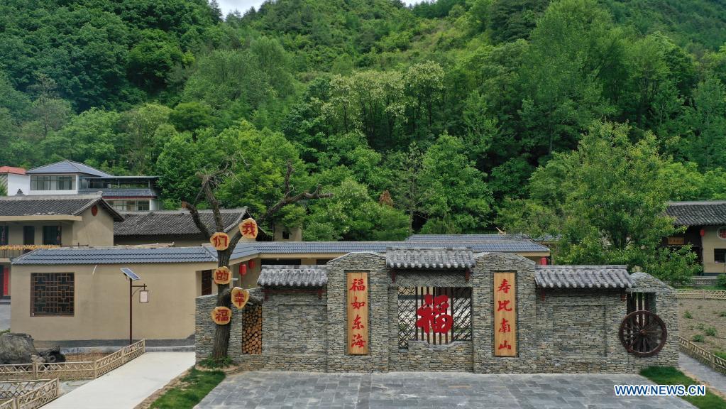 Aerial photo taken on May 20, 2021 shows a view of Fuba Village of Kangxian County, Longnan City, northwest China's Gansu Province. (Xinhua/Lang Bingbing)